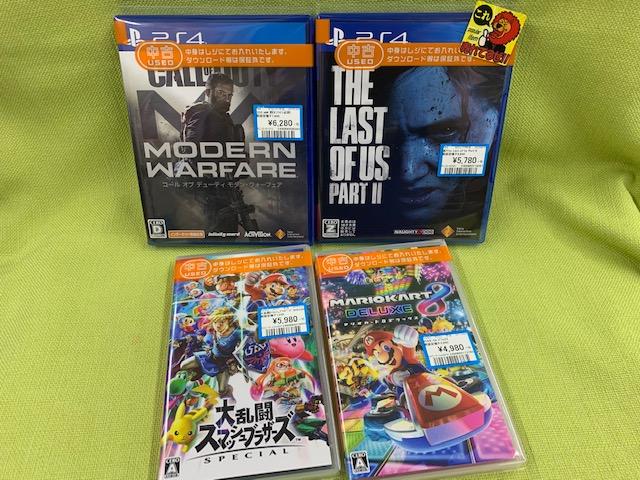 PS4・スイッチなゲームソフト買い取りました!(=゚ω゚)ノ