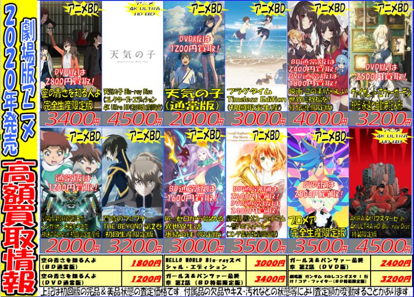 『2020年発売劇場版アニメ&聖闘士星矢関連アニメ』買取強化情報