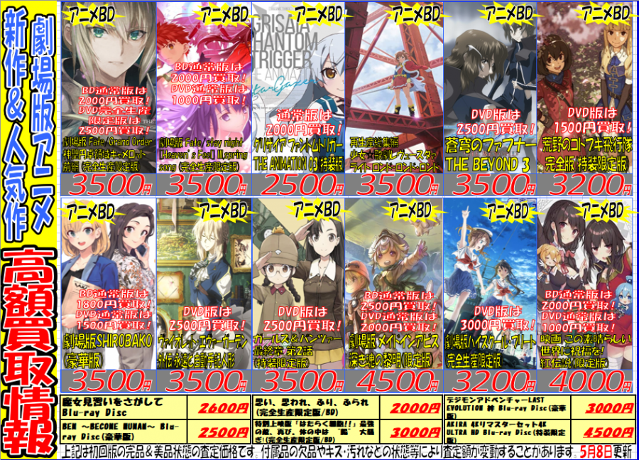 『新作&人気作 劇場版アニメ』買取強化情報